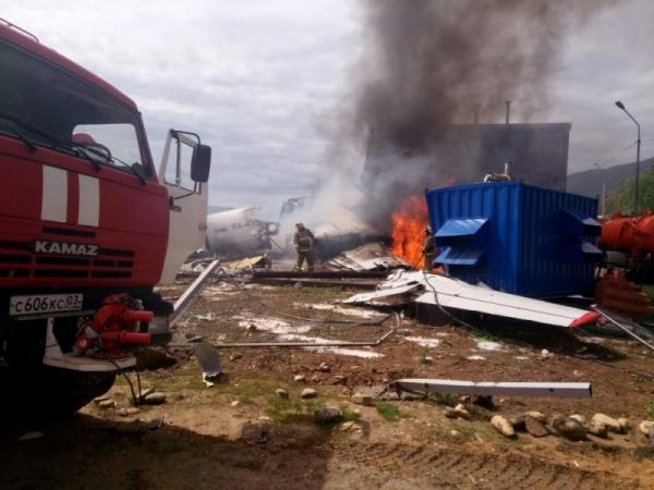 Ан-24 Ангара пожар аварийная посадка|Фото:пресс-служба ГУ МЧС РФ по Республике Бурятия