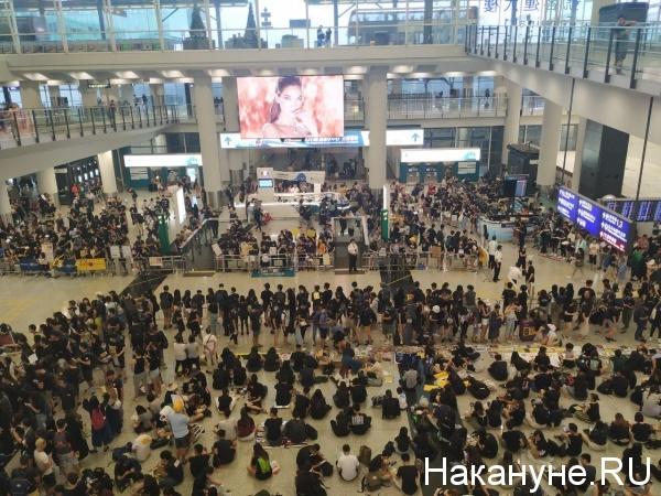 Протестующие в аэропорту Гонконга 10.08.2019|Фото: Накануне.Ru